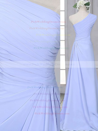 Popular Lavender Chiffon Sheath/Column One Shoulder Bridesmaid Dress #PWD01012522