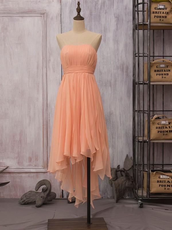 High Low Strapless Ruffles Chiffon Unique Asymmetrical Bridesmaid Dress #PWD01012523