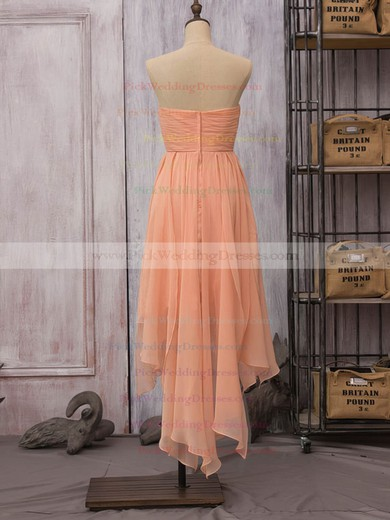 High Low Strapless Ruffles Chiffon Unique Asymmetrical Bridesmaid Dress #PWD01012523