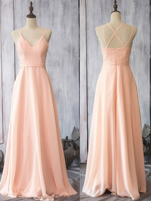 Pearl Pink Chiffon V-neck Spaghetti Straps Sheath/Column Wholesale Bridesmaid Dress #PWD01012524
