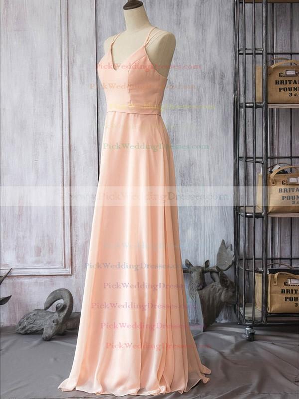 Pearl Pink Chiffon V-neck Spaghetti Straps Sheath/Column Wholesale Bridesmaid Dress #PWD01012524