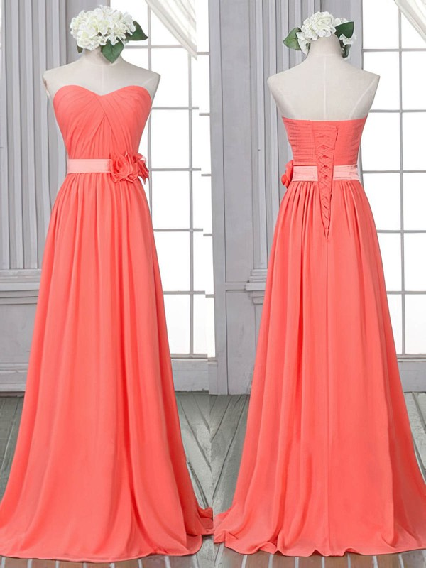 Watermelon Chiffon Sheath/Column Flower(s) with Lace-up Classic Bridesmaid Dress #PWD01012526