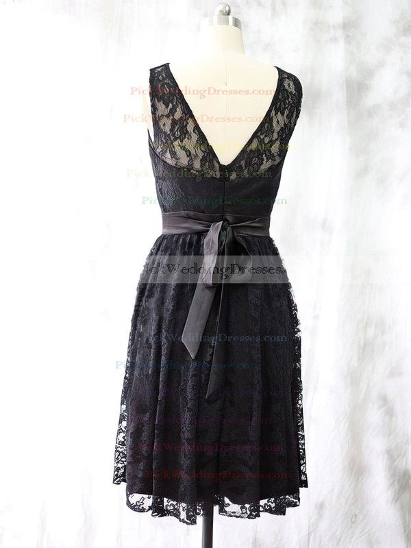 Knee-length Scoop Neck with Sashes/Ribbons Black Lace Bridesmaid Dress #PWD01012527