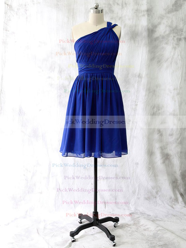 Latest Short/Mini Ruffles Chiffon One Shoulder Bridesmaid Dress #PWD01012528