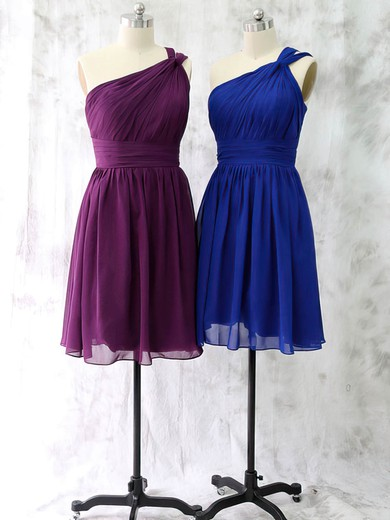 Latest Short/Mini Ruffles Chiffon One Shoulder Bridesmaid Dress #PWD01012528