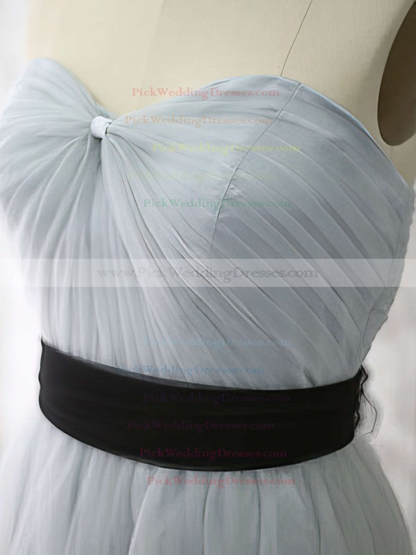 Light Slate Gray Tulle and Black Sashes/Ribbons Sweetheart Promotion Bridesmaid Dress #PWD01012530