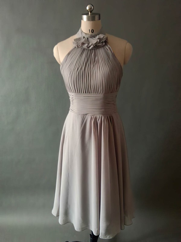 Gray Chiffon Pleats Knee-length Halter Modest Bridesmaid Dresses #PWD01012531