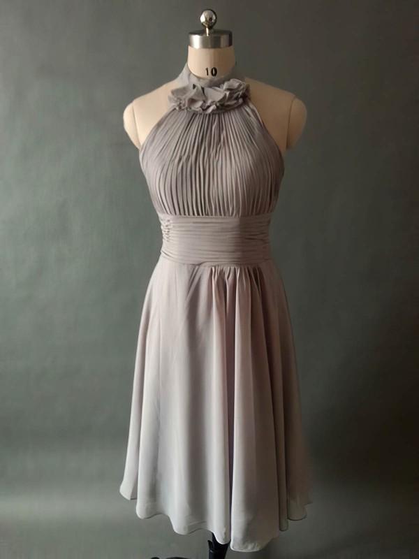 Gray Chiffon Pleats Knee-length Halter Modest Bridesmaid Dresses #PWD01012531