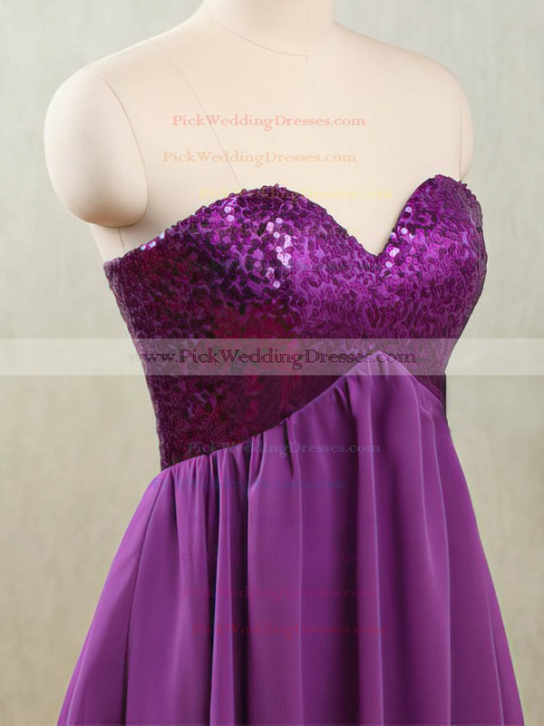 Purple Chiffon and Sparkly Sequined Short/Mini Empire Bridesmaid Dresses #PWD01012532