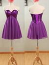 Purple Chiffon and Sparkly Sequined Short/Mini Empire Bridesmaid Dresses #PWD01012532