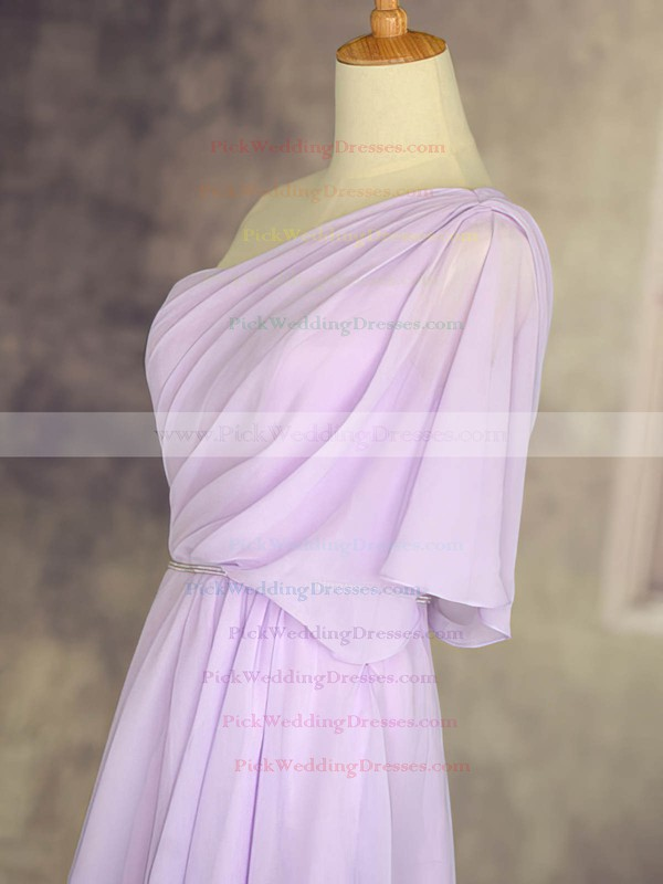Amazing 1/2 Sleeve Lilac Chiffon Short/Mini One Shoulder Bridesmaid Dresses #PWD01012533