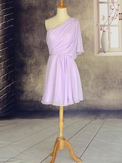 Amazing 1/2 Sleeve Lilac Chiffon Short/Mini One Shoulder Bridesmaid Dresses #PWD01012533