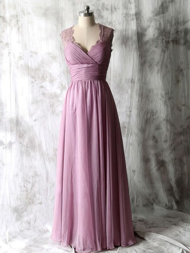 Elegant Chiffon and Lace A-line Open Back V-neck Bridesmaid Dresses #PWD01012534
