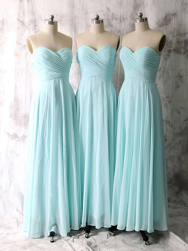 Sweetheart Ruffles Chiffon Light Sky Blue Simple Bridesmaid Dresses #PWD01012535