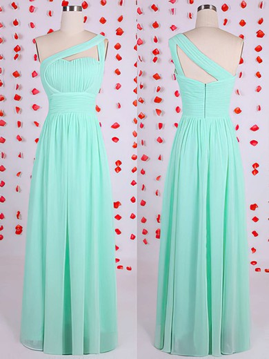 Sheath/Column Green Chiffon Discounted One Shoulder Bridesmaid Dresses #PWD01012536