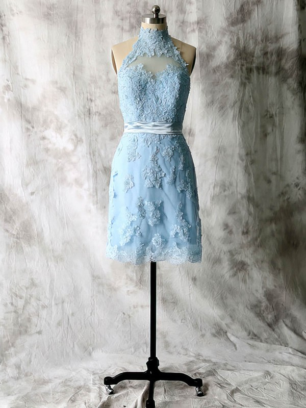 Blue Lace Tulle Appliques Short/Mini High Neck Bridesmaid Dresses #PWD01012538