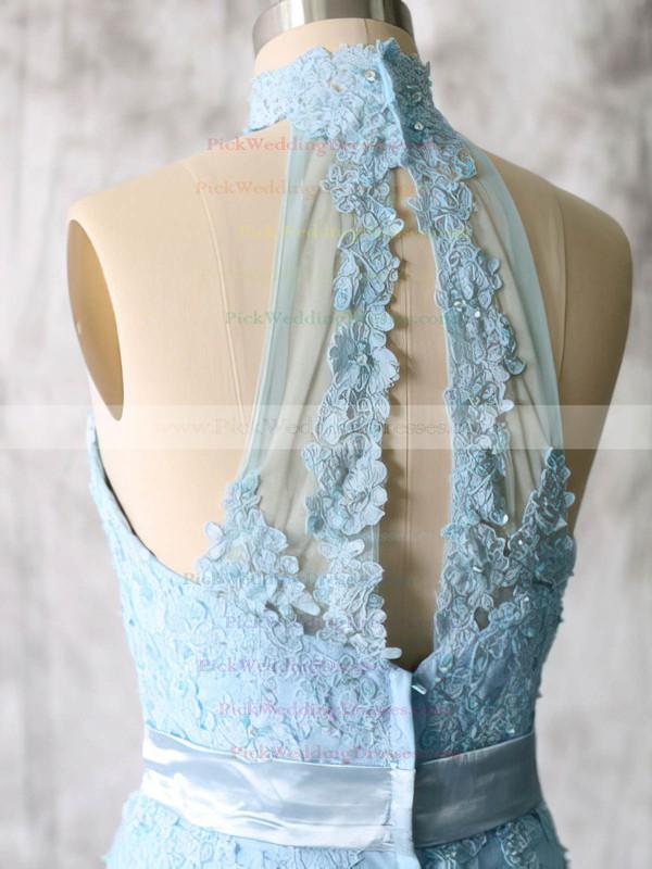 Blue Lace Tulle Appliques Short/Mini High Neck Bridesmaid Dresses #PWD01012538