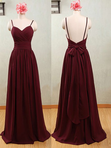 Promotion Claret Chiffon Spaghetti Straps Sweetheart Backless Bridesmaid Dresses #PWD01012539