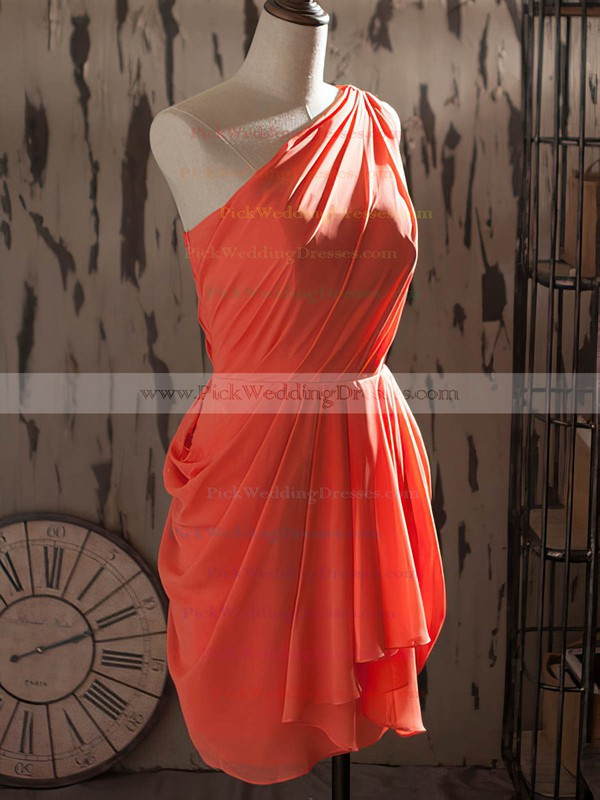Sheath/Column Watermelon Chiffon Short/Mini One Shoulder Bridesmaid Dresses #PWD01012540