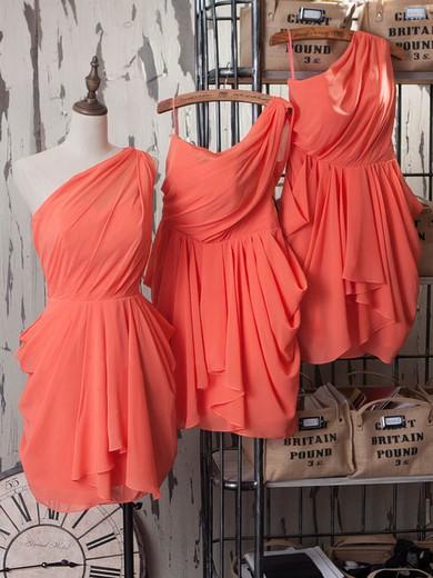 Sheath/Column Watermelon Chiffon Short/Mini One Shoulder Bridesmaid Dresses #PWD01012540