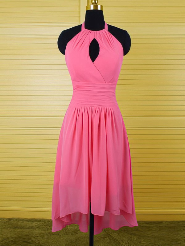Inexpensive Fuchsia Ruffles Chiffon Asymmetrical Halter Bridesmaid Dress #PWD01012541
