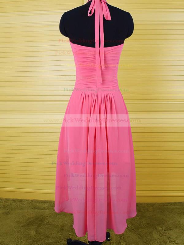 Inexpensive Fuchsia Ruffles Chiffon Asymmetrical Halter Bridesmaid Dress #PWD01012541