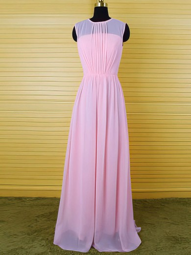 Sweet Pearl Pink Scoop Neck Chiffon Ruffles Sheath/Column Bridesmaid Dress #PWD01012542