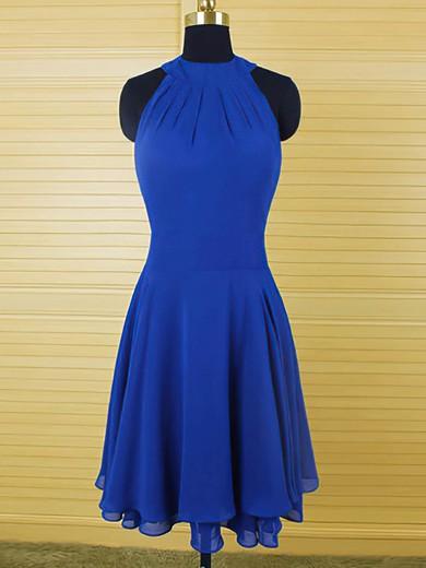Scoop Neck Sheath/Column Ruffles Chiffon Latest Royal Blue Bridesmaid Dress #PWD01012543