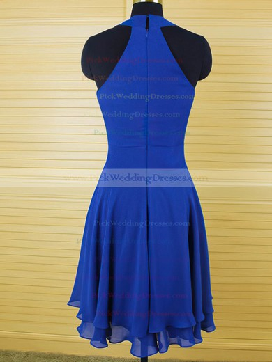 Scoop Neck Sheath/Column Ruffles Chiffon Latest Royal Blue Bridesmaid Dress #PWD01012543
