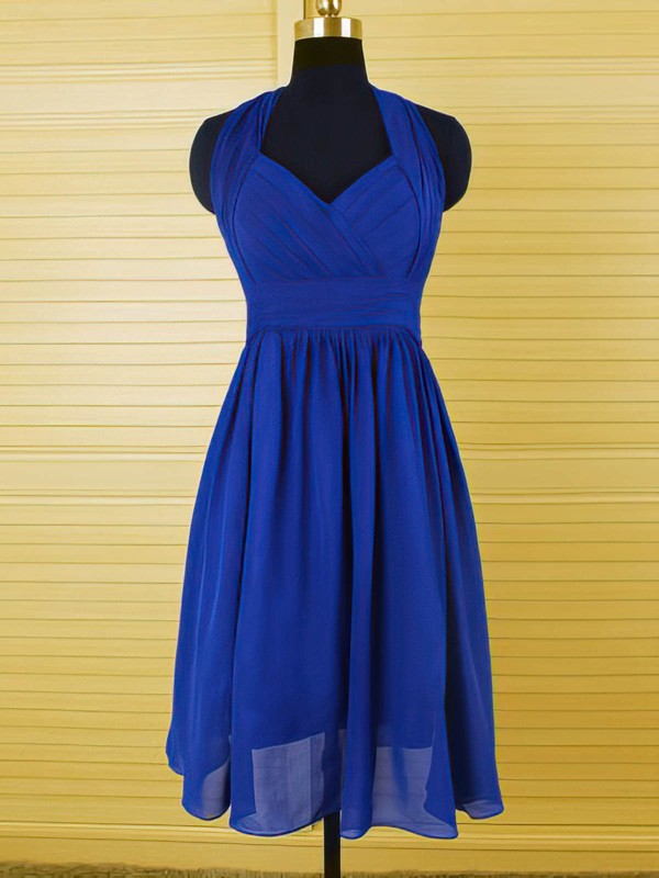 Royal Blue Ruffles Chiffon Knee-length Juniors Halter Bridesmaid Dress #PWD01012544