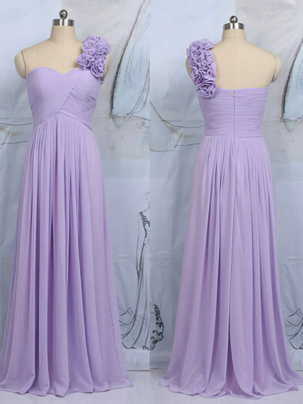 Stunning Sheath/Column Lilac Chiffon Flower(s) One Shoulder Bridesmaid Dress #PWD01012545