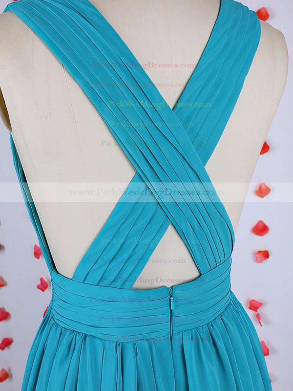 Wholesale Chiffon Pleats A-line Blue V-neck Bridesmaid Dress #PWD01012549