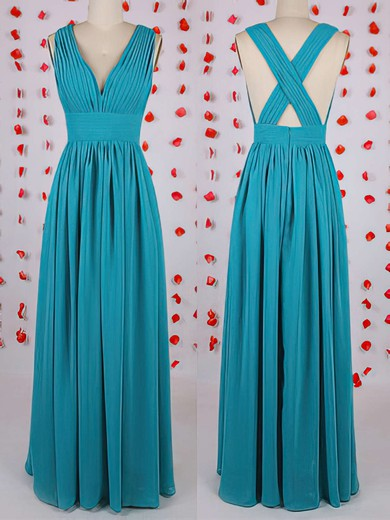 Wholesale Chiffon Pleats A-line Blue V-neck Bridesmaid Dress #PWD01012549