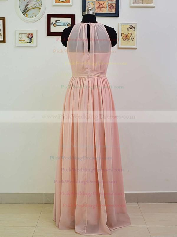 Discounted Scoop Neck Ruffles Chiffon Floor-length Pink Bridesmaid Dresses #PWD01012551