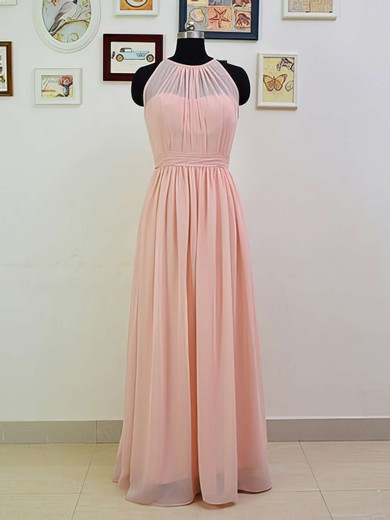 Discounted Scoop Neck Ruffles Chiffon Floor-length Pink Bridesmaid Dresses #PWD01012551