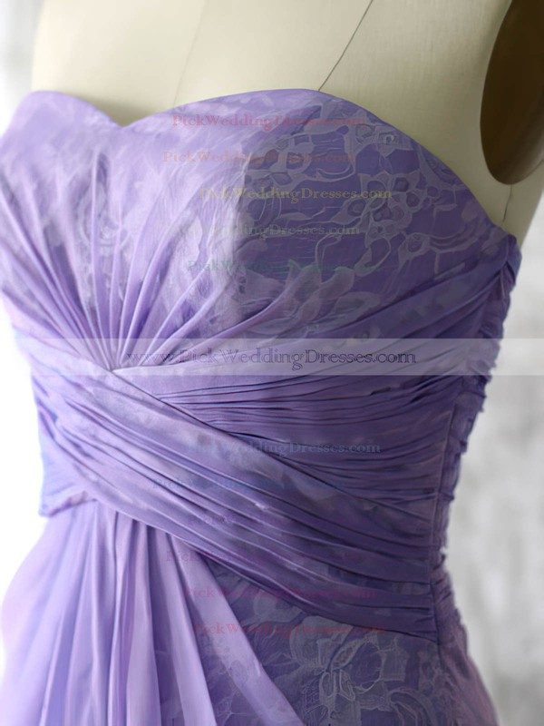 Unusual Lavender Lace Chiffon Sweetheart Asymmetrical Bridesmaid Dresses #PWD01012552