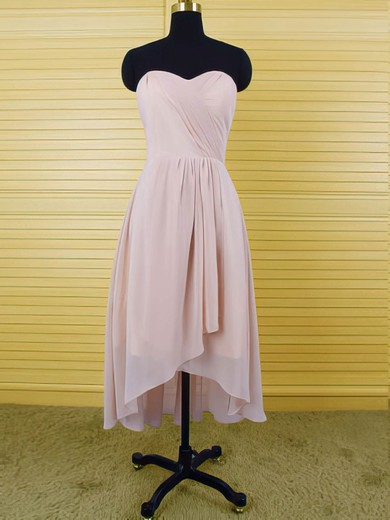 Pink Chiffon Sweetheart Simple Ruffles Asymmetrical High Low Bridesmaid Dresses #PWD01012553