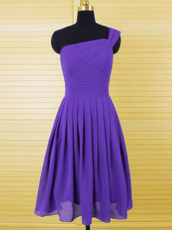 Casual Purple Chiffon Ruffles Knee-length One Shoulder Bridesmaid Dresses #PWD01012554