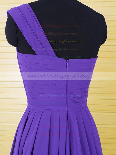 Casual Purple Chiffon Ruffles Knee-length One Shoulder Bridesmaid Dresses #PWD01012554