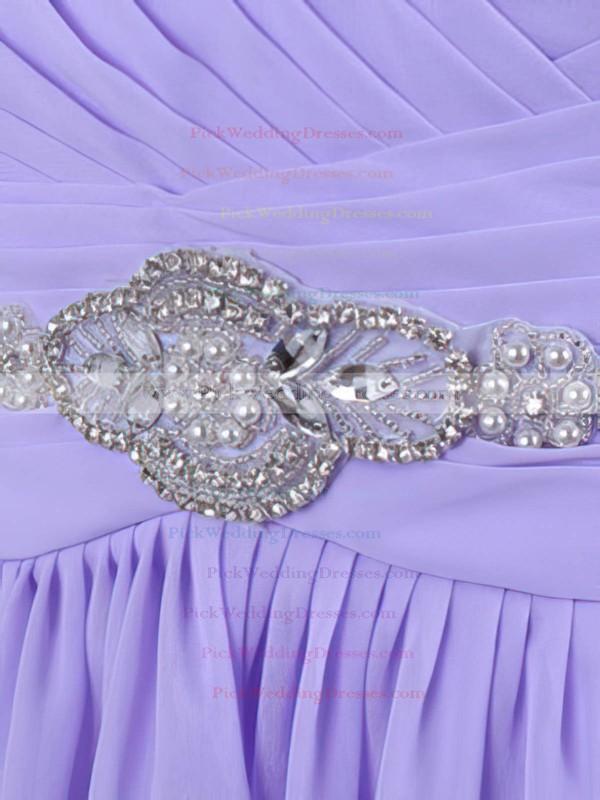 Elegant Knee-length Chiffon Crystal Detailing Lavender Bridesmaid Dresses #PWD01012555