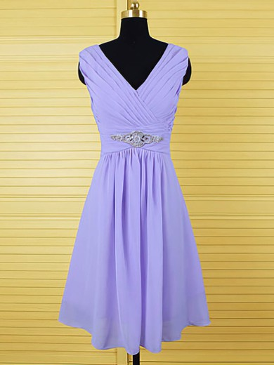 Elegant Knee-length Chiffon Crystal Detailing Lavender Bridesmaid Dresses #PWD01012555