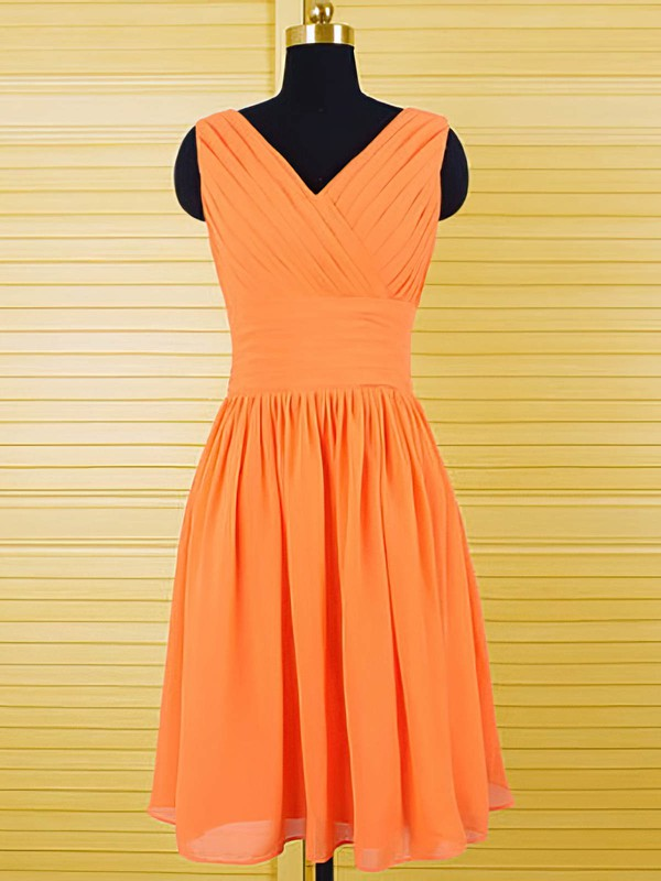 V-neck Orange Chiffon Ruffles Knee-length Cheap Bridesmaid Dresses #PWD01012556
