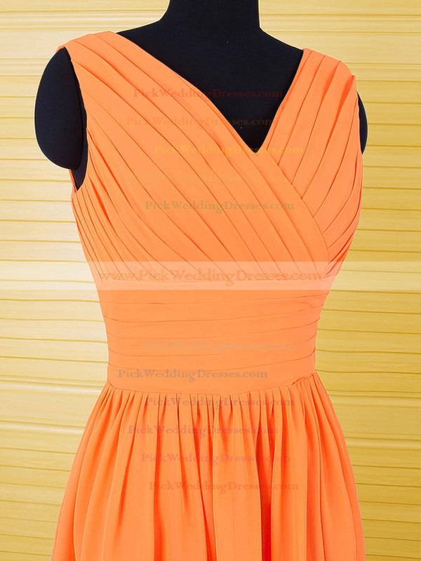 V-neck Orange Chiffon Ruffles Knee-length Cheap Bridesmaid Dresses #PWD01012556