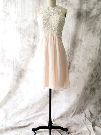 Popular Sheath/Column Chiffon with Appliques Lace Open Back Short/Mini Bridesmaid Dresses #PWD01012558