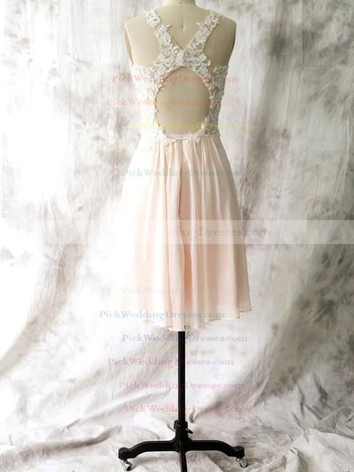 Popular Sheath/Column Chiffon with Appliques Lace Open Back Short/Mini Bridesmaid Dresses #PWD01012558