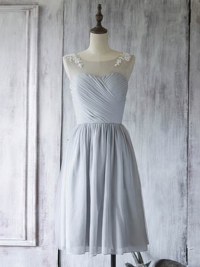 Nice Light Slate Gray Chiffon Tulle Appliques Lace Scoop Knee-length Bridesmaid Dress #PWD01012560