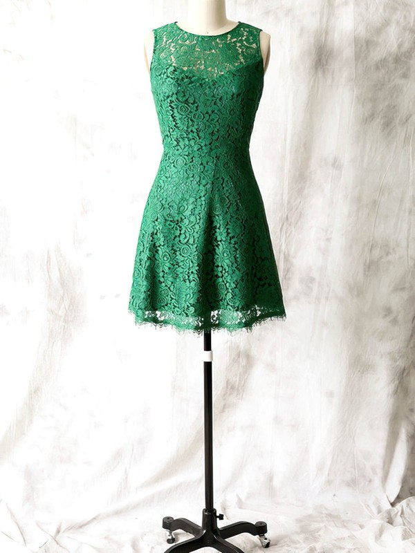 Green Scoop Neck Sheath/Column Short/Mini Newest Lace Bridesmaid Dress #PWD01012561