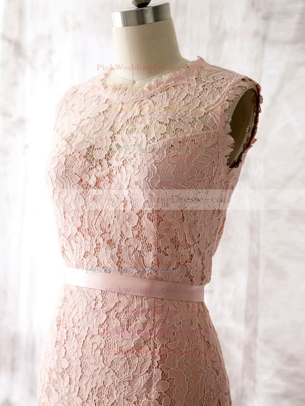 Latest Pink Lace with Sashes/Ribbons Knee-length Sheath/Column Bridesmaid Dress #PWD01012562