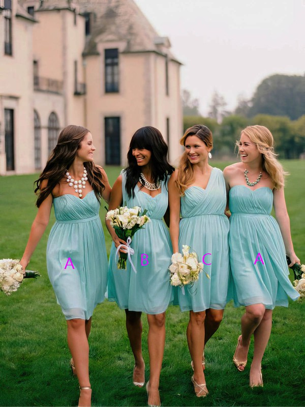 Sweetheart Chiffon Short/Mini Ruffles Light Sky Blue Popular Bridesmaid Dress #PWD01012563