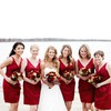 Modest V-neck Satin Short/Mini Pleats Burgundy Bridesmaid Dress #PWD01012564